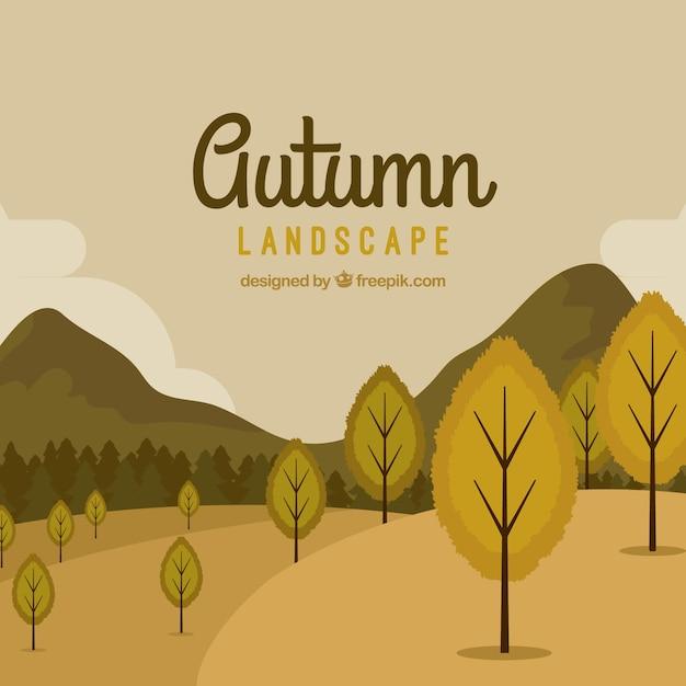 Herbst hintergrund mit bäumen und berge Kostenlosen Vektoren