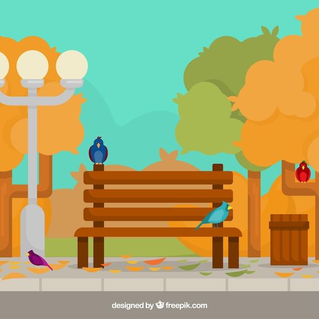 Herbst hintergrund mit park Kostenlosen Vektoren
