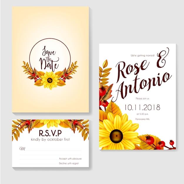 Herbst Hochzeit Einladung Aus Blumen Gemacht Premium Vektoren