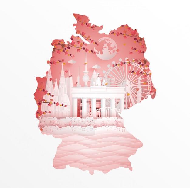 Herbst in deutschland mit ahornurlaubart im jahreszeitkonzept für reisepostkarte Premium Vektoren