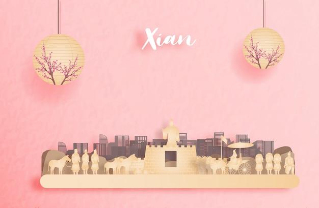 Herbst in xian, china mit laterne der chinesischen art. papierschnitt illustration Premium Vektoren