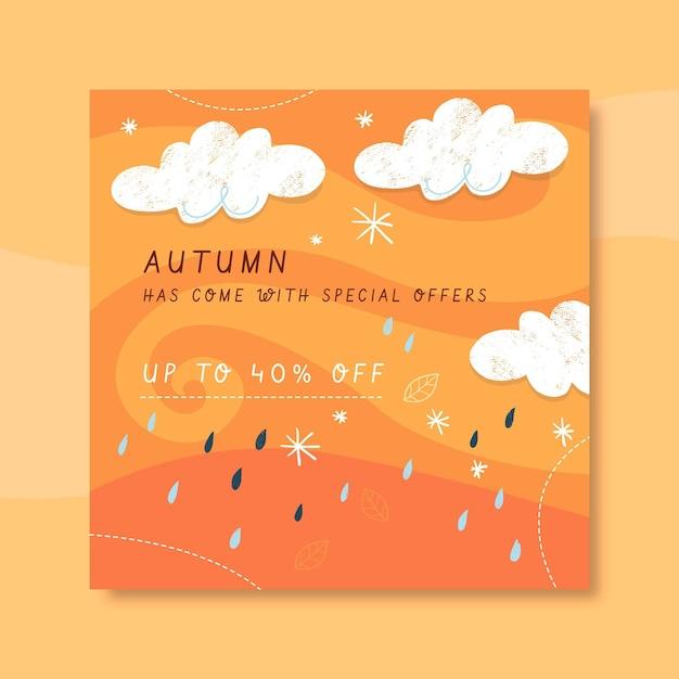 Herbst instagram post vorlage mit wolken und regen Kostenlosen Vektoren