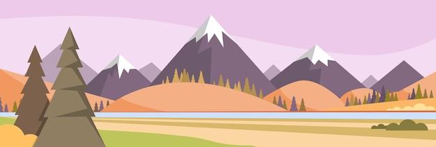 Herbst landschaft bergwald himmel woods Premium Vektoren