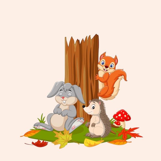 Herbst mit wilden tieren Premium Vektoren