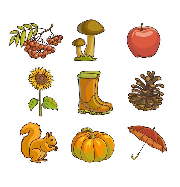 Herbst oder herbst-symbol und objekte festgelegt Premium Vektoren