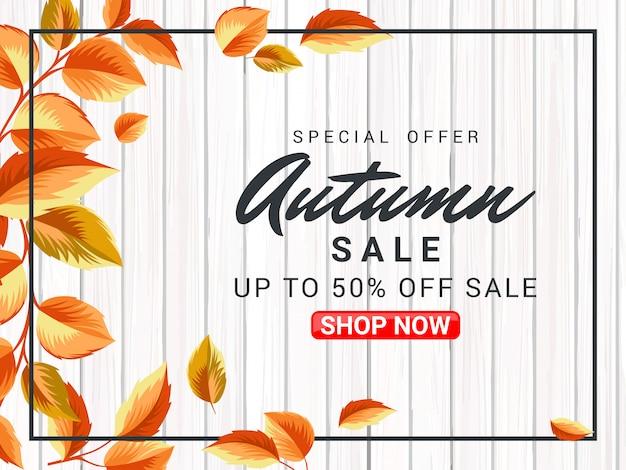 Herbst poster verkauf illustration mit holzoberfläche Premium Vektoren
