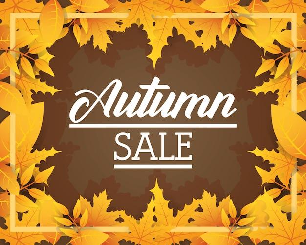 Herbst sale saisonale label-symbol Premium Vektoren