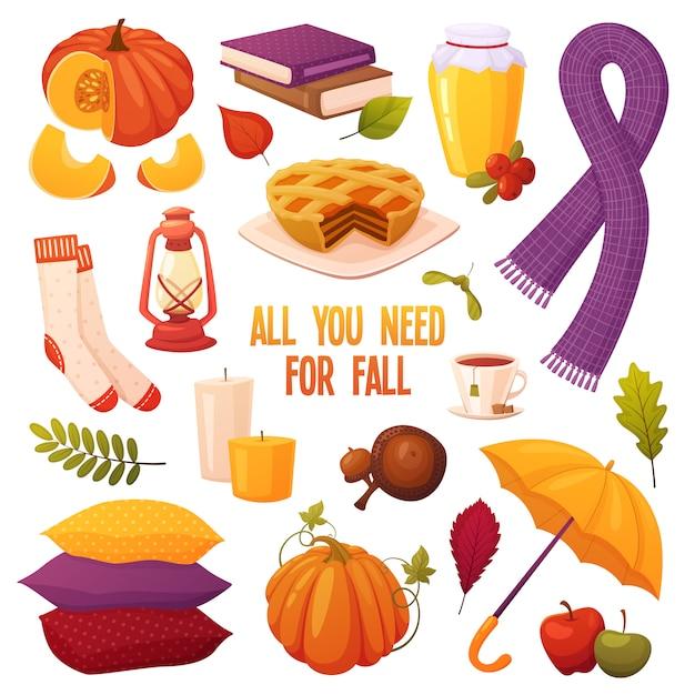 Herbst stellte mit verschiedenen karikaturelementen ein: kerzen, kürbise, torte, honig, tee, eicheln, bücher, regenschirm, lampe, schal, kissen, socken und blätter. gemütliche vektor-sammlung Premium Vektoren