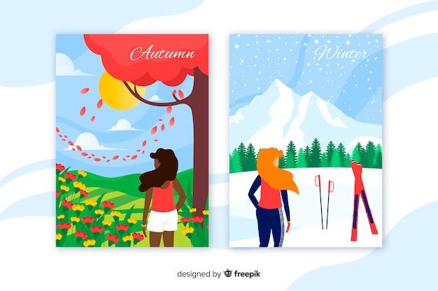 Herbst und winter bunte plakate Kostenlosen Vektoren