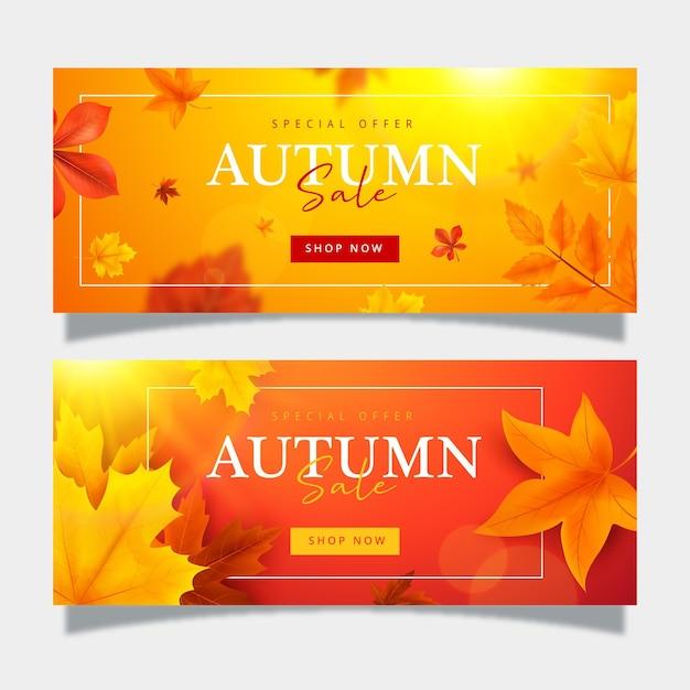 Herbst verkauf banner sammlung Kostenlosen Vektoren
