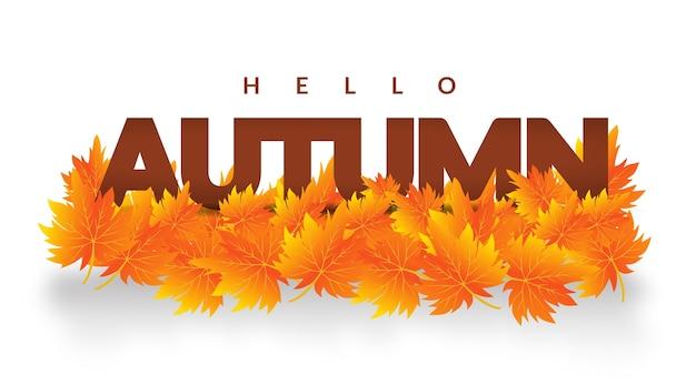 Herbst verlässt hallo herbst banner design Premium Vektoren