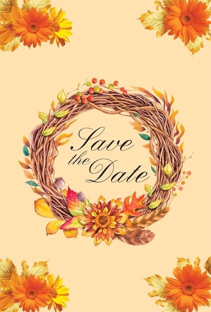 Herbst Vorlage mit speichern Sie das Datum | Download der Premium Vektor
