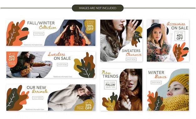 Herbst / winter mode verkauf banner gesetzt Premium Vektoren