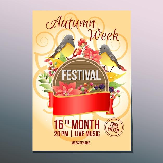 Herbst woche festival tag birdsong poster vorlage Premium Vektoren