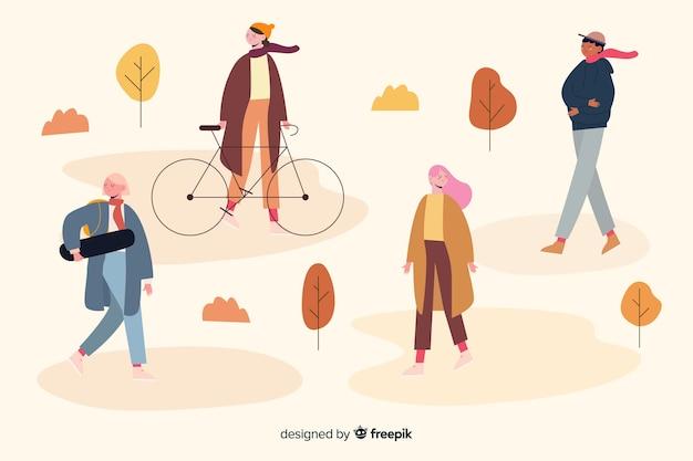 Herbstaktivitäten im parkillustrationsdesign Kostenlosen Vektoren