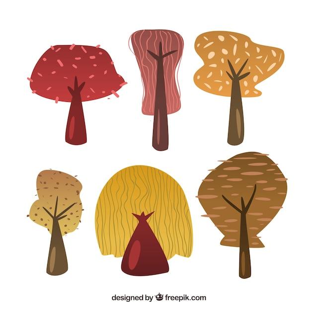 Herbstbäume sammlung Kostenlosen Vektoren