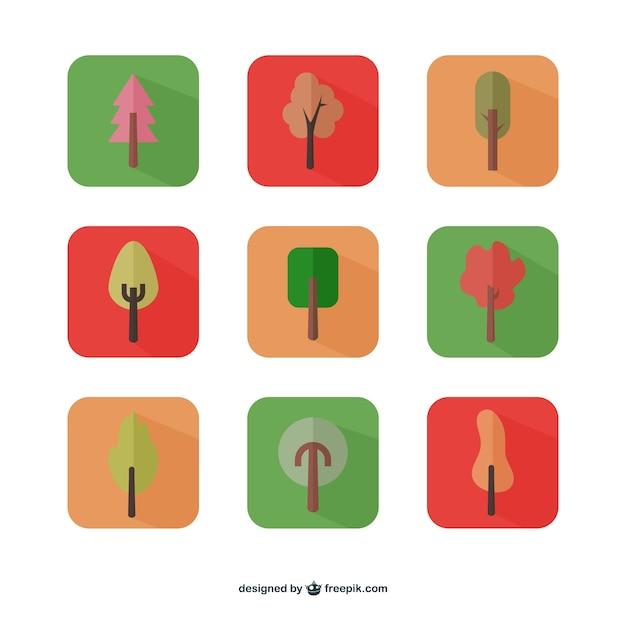 Herbstbäume symbole Kostenlosen Vektoren