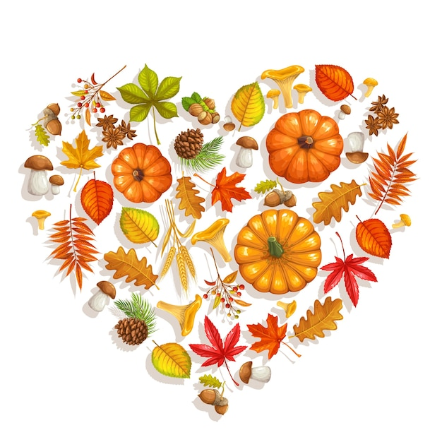 Herbstbanner mit herbstlaubahorn, eiche, ulme, kürbis, kastanie, blättern rhus typhina, pilzen und herbstbeeren für werbegeschäft. Premium Vektoren