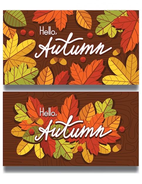 Herbstblätter und beeren fallen über hölzernen texturhintergrund herunter. vorlage mit schriftzug zum drucken auf postkarten und flyern. Premium Vektoren