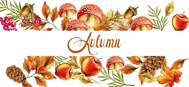 Herbsternte banner. herbst pilze und früchte dekor poster Premium Vektoren