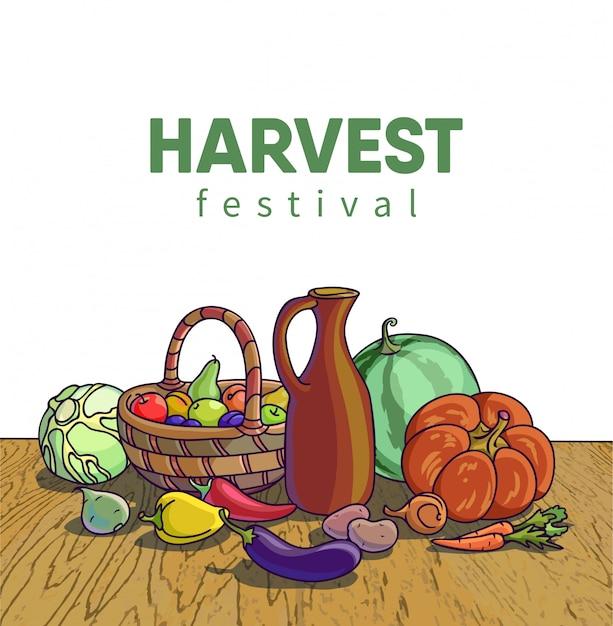 Herbsternte. vector illustration der gruppe vieler obst und gemüse Premium Vektoren