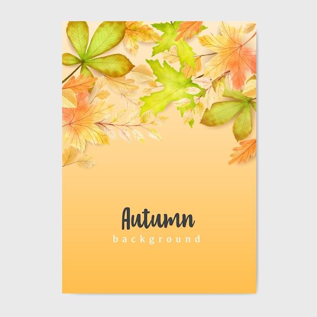 Herbstfahne mit buntem herbstlaubhintergrund Premium Vektoren