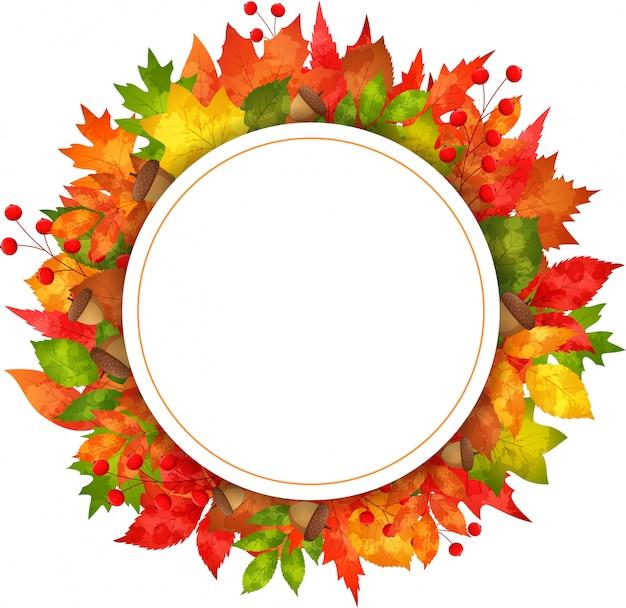 Herbstfahnenblätter mit rundem papier Premium Vektoren