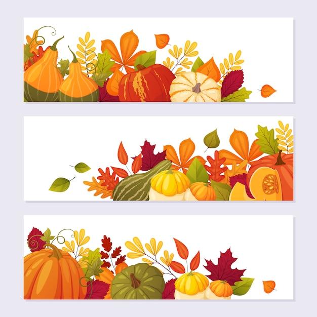 Herbstfahnenhintergrund für erntedankfestdesign. kürbisse und blätter im cartoon-stil. Premium Vektoren