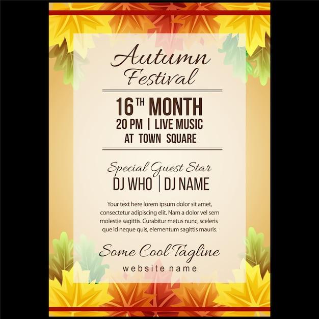 Herbstfestival-plakatschablone mit ahornblättern Premium Vektoren