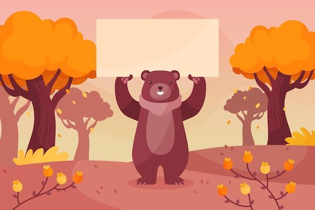 Herbsthintergrund im flachen design Kostenlosen Vektoren