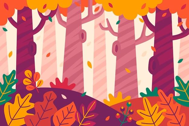 Herbsthintergrund mit bäumen und blättern Kostenlosen Vektoren