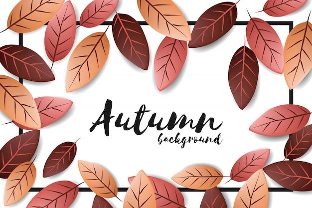 Herbsthintergrund mit fallendem blatt Premium Vektoren