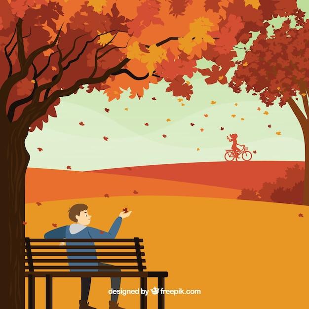 Herbsthintergrund mit person im park Kostenlosen Vektoren