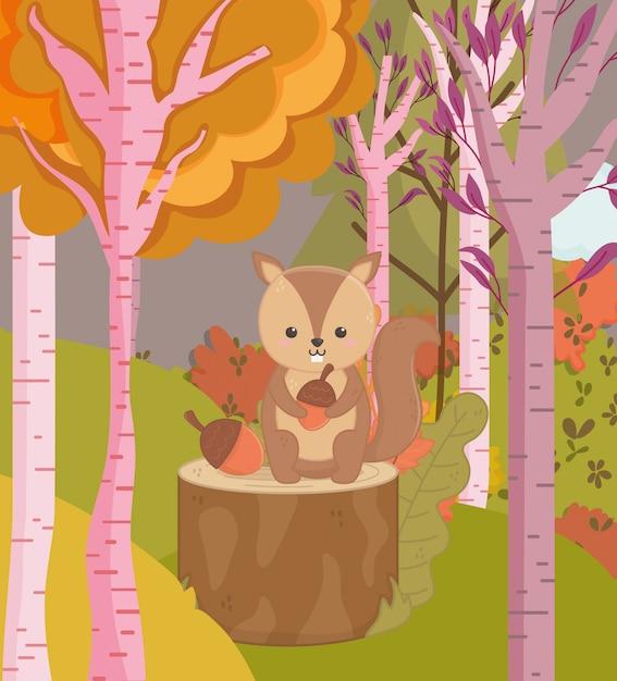Herbstillustration des netten eichhörnchens mit eichelwaldbäumen Premium Vektoren