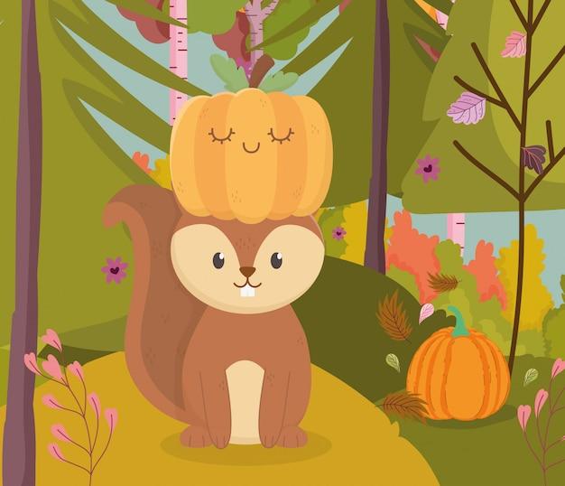 Herbstillustration des netten eichhörnchens mit kürbis im kopf Premium Vektoren