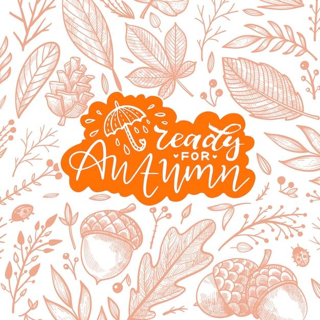 Herbstillustration von blättern und von eicheln Premium Vektoren