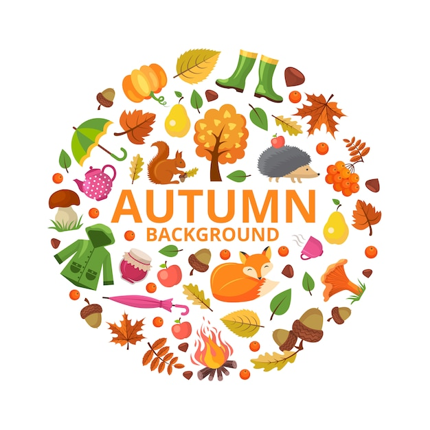 Herbstkollektionskreis. fallniederlassungstiere und orange gelb lässt symbole der blumendekorationsdesigne der runden form des herbstes Premium Vektoren
