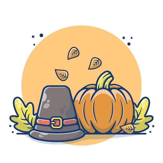 Herbstkonzept mit kürbis und bauernhut Premium Vektoren