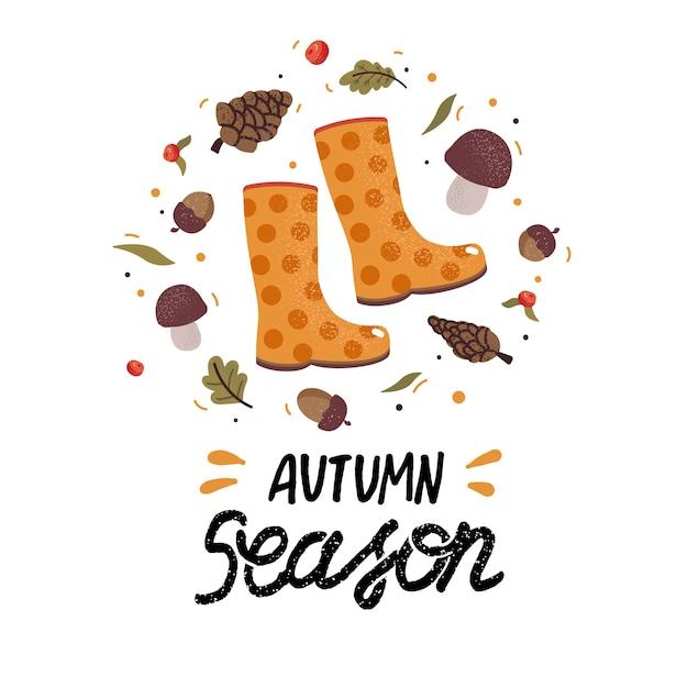 Herbstkranz mit gummistiefeln, fallenden blättern, eicheln, beeren, pilzen und schriftzug. sammelalbum sammlung von herbstsaison elementen. herbstgrußkarte Premium Vektoren