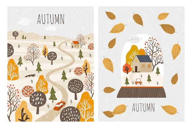 Herbstlandschaftskarten. herbst Premium Vektoren