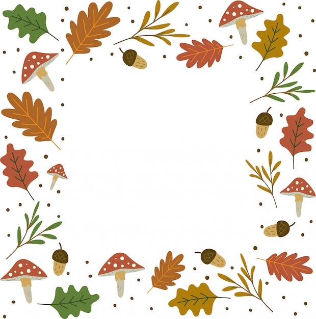 Herbstlaub frame hintergrund Premium Vektoren