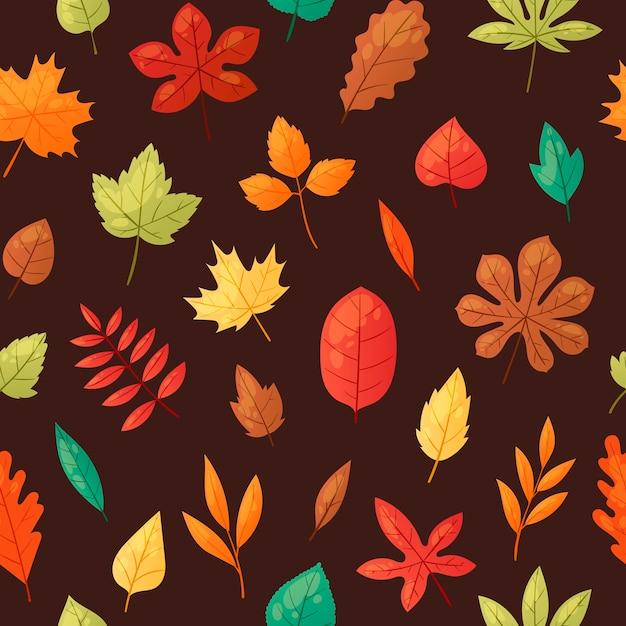 Herbstlaub nahtlose muster Premium Vektoren