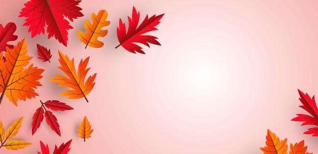 Herbstlaubhintergrunddesign mit kopienraum Premium Vektoren