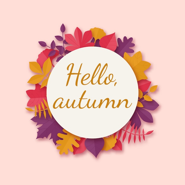 Herbstlaubkranz in der papierkunstart. Premium Vektoren