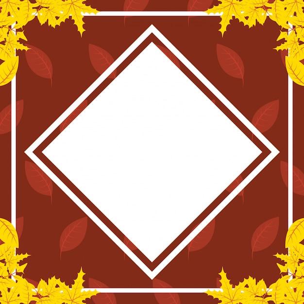 Herbstlaublaub-rautenrahmen Premium Vektoren