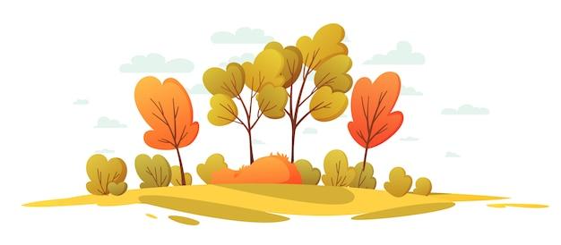 Herbstliche naturlandschaft mit bäumen. schöner landschaftskarikaturhintergrund. Premium Vektoren