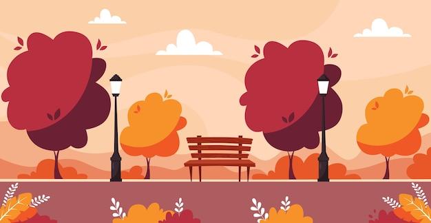 Herbstlicher stadtpark mit bäumen, büschen, bank, straßenlaterne. Premium Vektoren