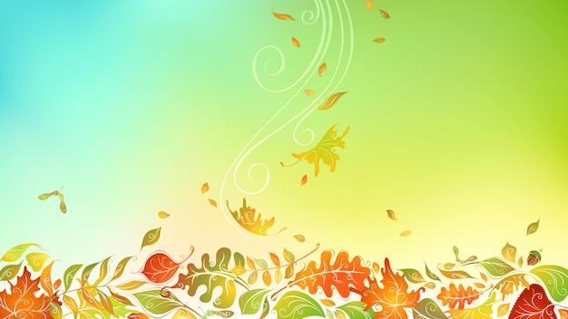 Herbstliches herbstlaub. heller herbsthintergrund mit kopierraum. birken-, ulmen-, eichen-, ebereschen-, ahorn-, kastanien- und espenblätter Premium Vektoren