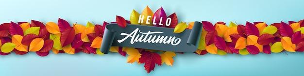 Herbstplakat und fahnenschablone mit buntem ahorn, eichenherbstlaub Premium Vektoren