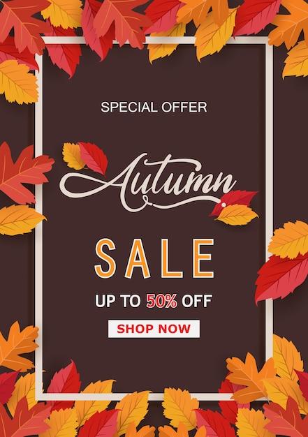 Herbstrahmen mit blattfahne Premium Vektoren